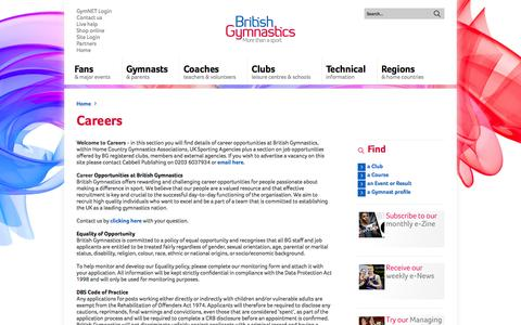 Screenshot of Jobs Page british-gymnastics.org - Careers - British Gymnastics - Footer Menu 2 - Careers - captured Sept. 24, 2014