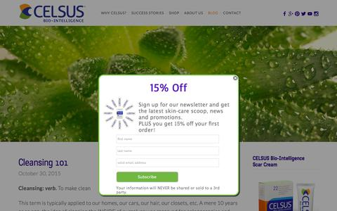 Screenshot of Blog celsusbio.com - CELSUS Bio-Intelligence Scar Cream for Scars, Stretch Marks, Acne Scars, and Anti-aging Ń CELSUS Skin Care and Beauty Blog - Healthy Habits, Anti-aging, Scar Removal, Stretch Marks, and more - captured Dec. 3, 2015