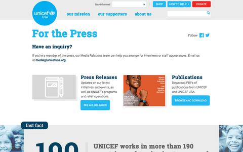 Screenshot of Press Page unicefusa.org - For the Press | UNICEF USA - captured Oct. 15, 2019