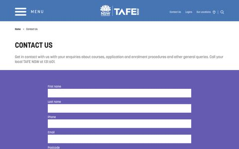 Contact Us, Enquire Online - Course and Study | TAFE NSW