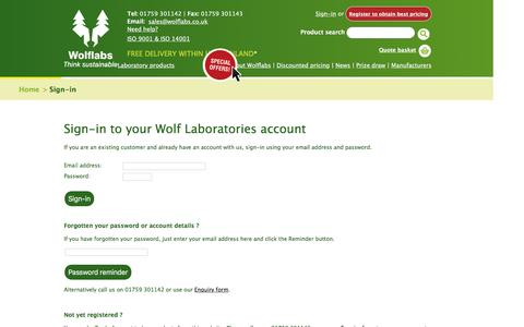 Screenshot of Login Page wolflabs.co.uk - Wolf Laboratories :: Laboratory Equipment Suppliers - captured Feb. 15, 2016