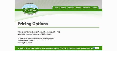 Screenshot of Pricing Page ic-hoa.com - Pricing: Mobile Notifications and Reporting App for Property Managers - captured Oct. 6, 2014