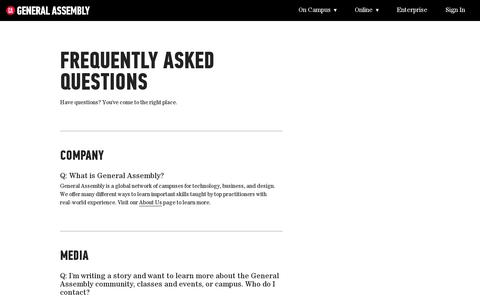 Screenshot of FAQ Page generalassemb.ly - Transforming Thinkers Into Creators   General Assembly - captured July 19, 2014