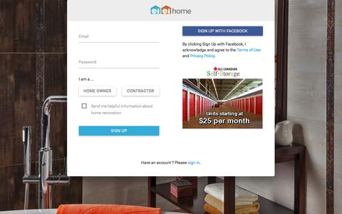 Screenshot of Signup Page eieihome.com - Sign Up | EiEiHome - captured July 12, 2016