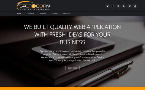 Screenshot of Home Page spericorn.com - ColdFusion Web Development Company | Spericorn - captured Feb. 2, 2016
