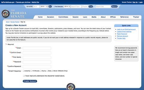 Screenshot of Signup Page flsenate.gov - Create a New Tracker Account - The Florida Senate - captured Oct. 30, 2014