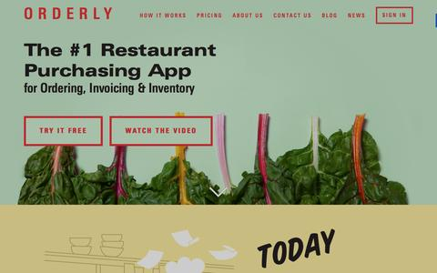 Screenshot of Home Page getorderly.com - Orderly | The #1 Restaurant Purchasing App - captured Jan. 10, 2016