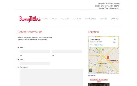 Screenshot of Contact Page Maps & Directions Page barneymillers.com - Contact     Barney Millers - captured Oct. 23, 2014