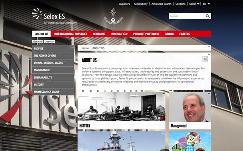 Screenshot of About Page selex-es.com - About Us - Selex ES - captured Sept. 19, 2014
