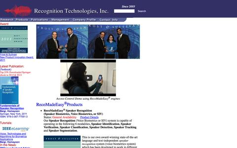 Screenshot of Home Page recognitiontechnologies.com - Recognition Technologies, Inc. -- Speaker Recognition - captured Oct. 6, 2014