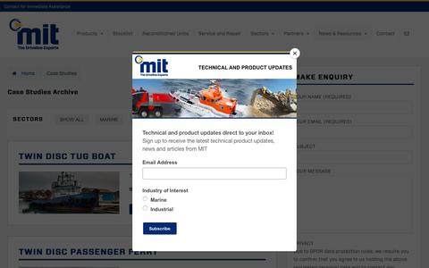 Screenshot of Case Studies Page mitgroup.co.uk - Case Studies Archive - Marine & Industrial Transmissions - captured Oct. 1, 2018