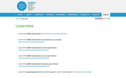 Screenshot of Login Page embrc.eu - Login page | EMBRC - captured July 14, 2018