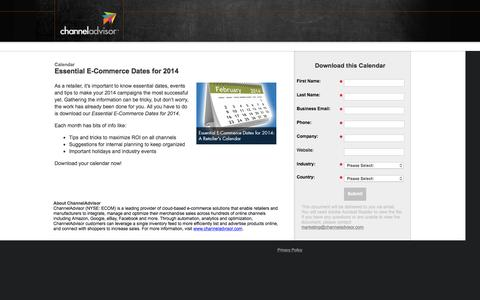 Screenshot of Landing Page channeladvisor.com - Essential E-Commerce Dates for 2014 - captured March 3, 2016