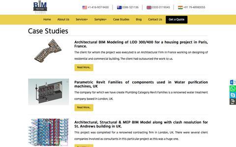 Screenshot of Case Studies Page bimservicesindia.com - Case Studies - captured Jan. 14, 2020