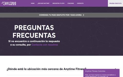 Screenshot of FAQ Page anytimefitness.com.co - Preguntas frecuentes - FAQ   Anytime Fitness - captured July 18, 2018