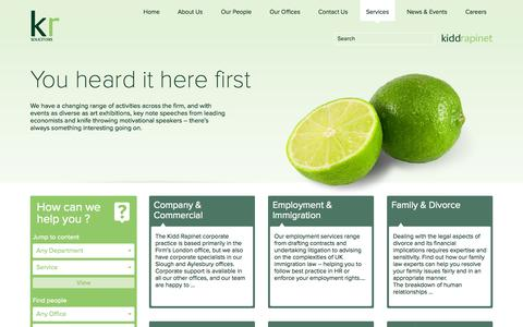 Screenshot of Services Page kiddrapinet.co.uk - Services | Kidd Rapinet - captured Sept. 30, 2014