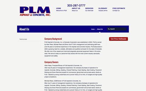 Screenshot of About Page plmus.com - About PLM Asphalt And Concrete, Denver Colorado - captured Jan. 23, 2016