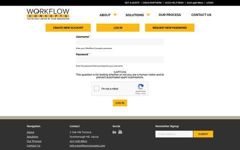 Screenshot of Login Page workflowconcepts.com - Login   Workflow Concepts - captured Oct. 20, 2018