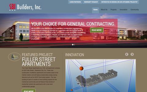 Screenshot of Home Page sbibuilders.com - SBI Builders Inc. - captured Oct. 3, 2014