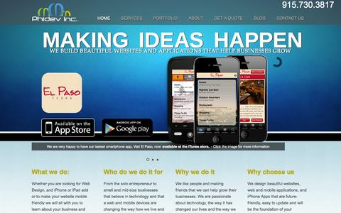 Screenshot of Home Page phidevinc.com - El Paso Web Design, Software, Android, iPad and iPhone App DevelopmentiPad & iPhone App and Mobile Web Design and Development   iPhone App Development and Mobile Web Design and Development Experts - captured Sept. 29, 2014