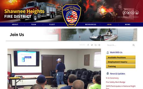 Screenshot of Signup Page shfd.us - Join Us - Shawnee Heights Fire District - captured Oct. 2, 2018