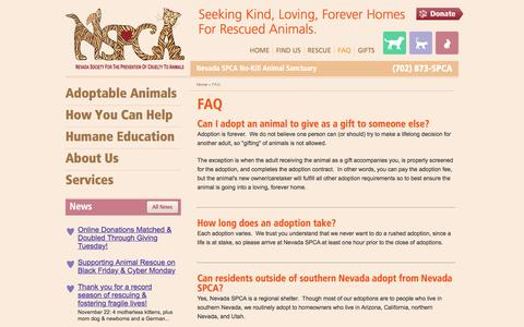 Screenshot of FAQ Page nvspca.org - Nevada Society for the Prevention of Cruelty to Animals - FAQ - captured Nov. 29, 2016