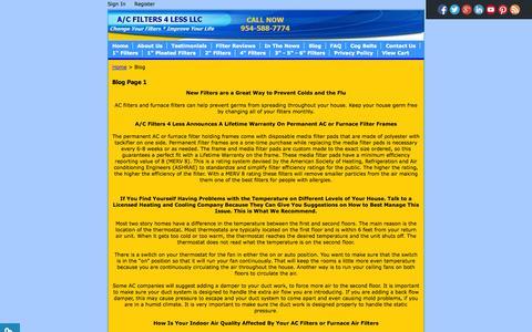 Screenshot of Blog acfilters4less.com - AC Filters 4 Less Blog Furnace Filters AC Filters EZ Flow - captured Oct. 29, 2014