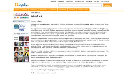 Screenshot of About Page egully.com - Egully.com : About us : Online Shopping Mall - captured July 19, 2014