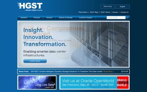 Screenshot of Press Page virident.com - Homepage | HGST Storage - captured Sept. 11, 2014