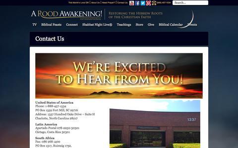 Screenshot of Contact Page aroodawakening.tv - Contact | A Rood Awakening & Michael Rood - captured Sept. 19, 2014