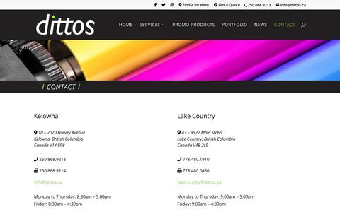 Screenshot of Contact Page dittos.ca - Contact | dittos | Lake Country & Kelowna, British Columbia - captured Dec. 19, 2018