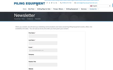 Screenshot of Signup Page piling-equipment-ltd.com - Newsletter Signup | Piling Equipment Ltd - captured July 18, 2018
