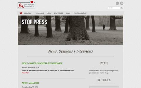 Screenshot of Press Page fh-foundation.org - Stop Press   News, Opinions and Interviews - captured Oct. 26, 2014