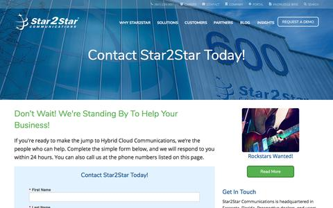 Screenshot of Contact Page star2star.com - Contact Star2Star | Star2Star Communications - captured Sept. 11, 2018