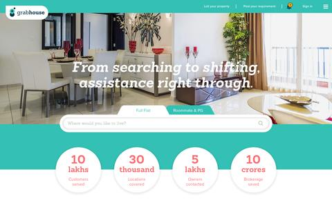 Screenshot of Home Page grabhouse.com - Flats, PG, House for rent without broker | Grabhouse - captured Oct. 24, 2015