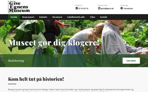 Screenshot of Home Page gem.dk - Det drejer sig om historien - Give Egnens Museum - captured Sept. 28, 2018