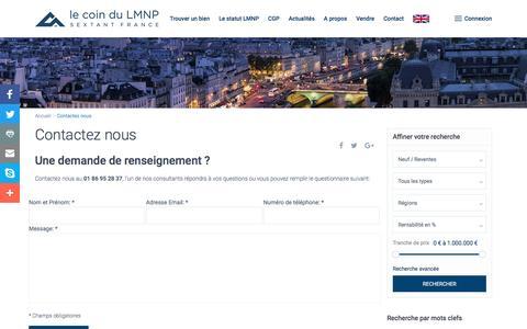 Screenshot of Contact Page lecoindulmnp.fr - Contactez Le Coin du LMNPReventes LMNP - captured May 16, 2017