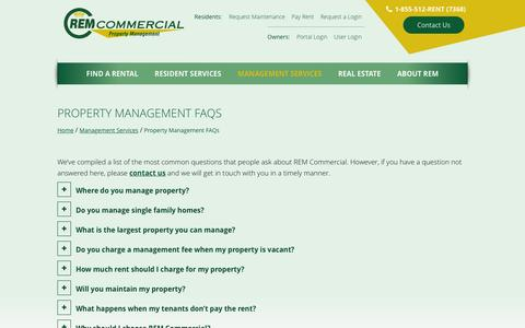 Screenshot of FAQ Page remcommercial.com - Frequently Asked Property Management Questions - captured Feb. 26, 2016