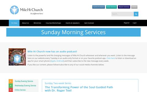 Screenshot of Services Page milehichurch.org - Sunday Morning Services - captured Sept. 21, 2018