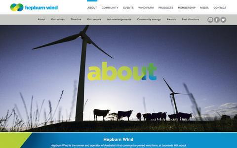 Screenshot of About Page hepburnwind.com.au - About Hepburn Wind - captured Nov. 7, 2016