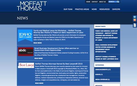 Screenshot of Press Page moffatt.com - News | Moffatt Thomas - captured Oct. 7, 2014