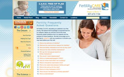 Screenshot of FAQ Page myfertilitycare.com - Frequently Asked Questions about Fertility - Fertility CARE - captured Oct. 5, 2014