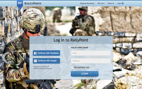 Screenshot of Login Page rallypoint.com - RallyPoint - The Professional Military Network - captured Sept. 17, 2014