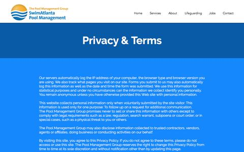 Screenshot of Privacy Page atlanta-pmg.com - SwimAtlanta Pool Management | Privacy & Terms - captured Oct. 26, 2017
