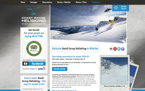 Screenshot of Home Page coastrangeheliskiing.com - Coast Range Heliskiing - Whistler Heliskiing - Coast Range Heliskiing - captured Sept. 30, 2014