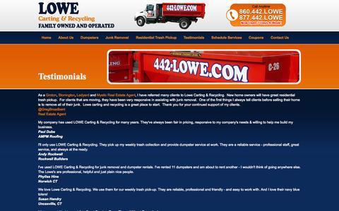 Screenshot of Testimonials Page 442lowe.com - Testimonials LOWE Carting & Recycling | CT RI Trash Pick-Up and Dumpster Rentals - captured Oct. 3, 2014