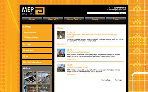 Screenshot of Press Page mepsolutions.com - Latest news about MEP Solutions - MEP Solutions - captured Sept. 26, 2014