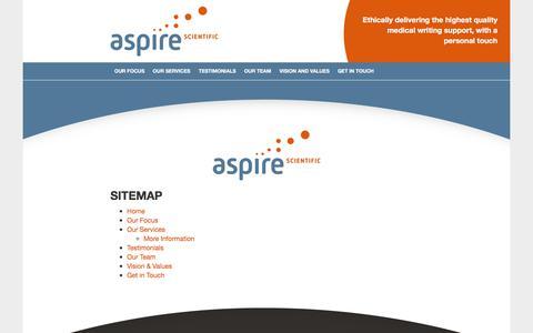 Screenshot of Site Map Page aspire-scientific.com - Sitemap - Aspire Scientific - captured Oct. 9, 2017