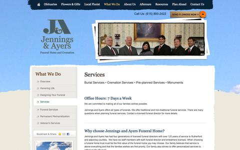 Screenshot of Services Page jenningsandayers.com - Services | Jennings and Ayers Funeral Home and Cremation - Murfreesboro, TN - captured Oct. 13, 2018