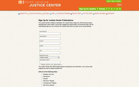 Screenshot of Signup Page ncjustice.org - NC Justice Center - captured Oct. 26, 2014